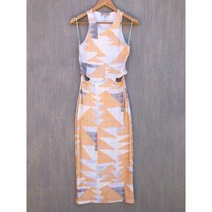 Mara Hoffman cutout maxi dress orange geo M